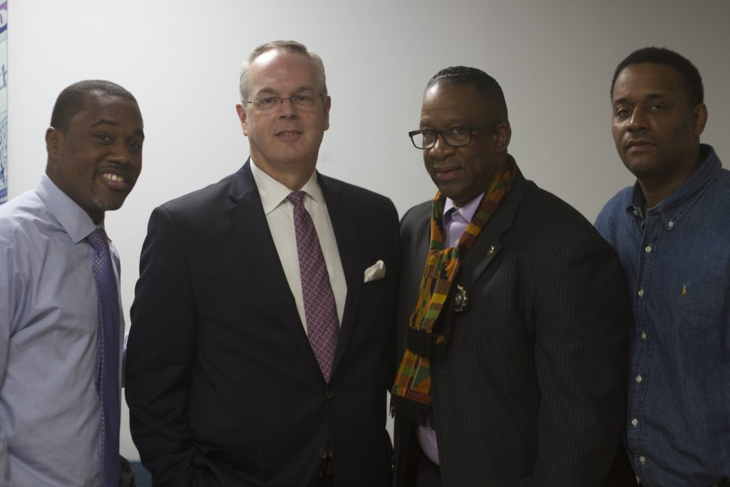 Vice president of external affairs Khari Edwards, President and CEO Brookdale University Hospital and Medical Center Mark E. Toney, Norbert Davidson and Mike Baril of Mediamakers NYC.