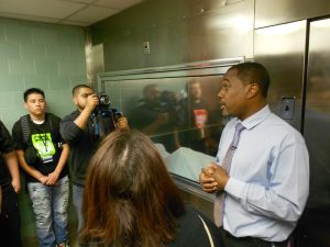 Khari Edwards Vice President of External Affairs at Brookdale brings students into the hospital's morgue to discuss the impact that gun violence has had in our communities